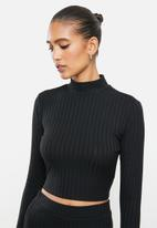 VELVET - Slinky rib knit crop top with cut out - black
