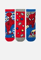Character Group - Spiderman 3 pack anklet socks - red & blue