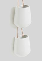 Present Time - Skittle hanging pot in a row - white