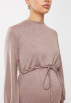 Superbalist - Nursing drawstring dress - taupe melange