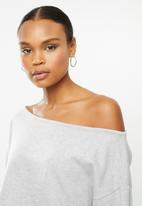Missguided - Coord off the shoulder sweat & jogger - grey