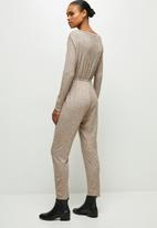 edit - Wide neck cut & sew jumpsuit - natural