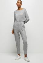 edit - Wide neck cut & sew jumpsuit - grey
