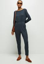 edit - Wide neck cut & sew jumpsuit - navy
