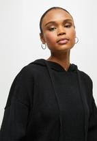 edit - Knitwear hooded top - black