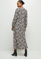 edit - Round neck loose fit maxi shirt dress - black & pink