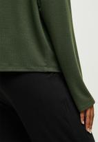 edit - Drop shoulder cut & sew top - khaki
