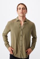Cotton On - Cayman long sleeve shirt - washed khaki