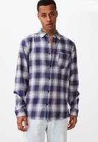 Cotton On - Washed long sleeve check shirt - blue & white