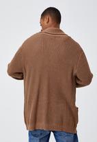Cotton On - Shawl cardigan - tobacco marle
