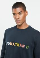 Jonathan D - Branded crew neck sweater with 3d embroidery regular fit - navy