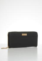 Pierre Cardin - Emma colour block zip-around purse  - black