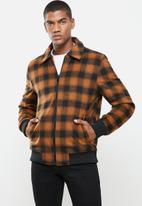 Jonathan D - Zip through check bomber jacket - rust