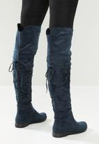 Miss Black - Dorota 3 over the knee boot - navy