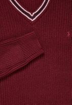 Superbalist - Chunky textured deep vee knit - burgundy