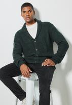 Superbalist - Chunky shawl collar cardi - dark fatigue green