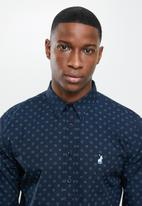 POLO - Amel geometric long sleeve signature shirt - navy