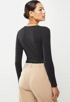 Glamorous - Long sleeve jersey with lace trim - black