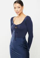 Glamorous - Long sleeve bodysuit with tie front - navy