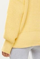 Missguided - Basic chunky crew neck jumper - yellow