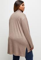 edit Plus - Ll drop shoulder roll neck tee - taupe melange