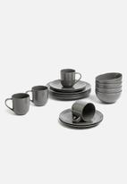 Jenna Clifford - Embossed lines  dinner set- 16 pc dark grey