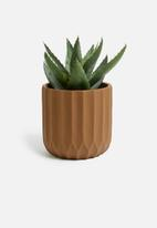 Present Time - Stripes pot plant - clay brown cement