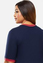 POLO - Plus taylor mid sleeve rib detail T-shirt - navy