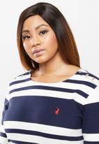 POLO - Plus marie long sleeve engineered stripe dress - navy & white