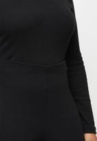 Missguided - Plus size side tie flared leg lounge set - black