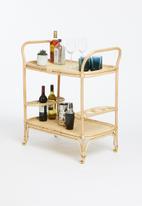 Sixth Floor - Rattan drinks trolley - natural