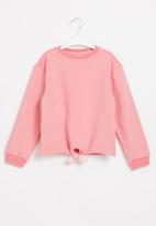 POP CANDY - Younger girls tie front sweat top - pink