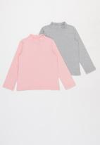 Superbalist Kids - Younger girls 2 pack polo neck tees - pink & grey