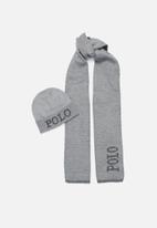 POLO - Mens charles jacquard logo beanie set - light grey melange