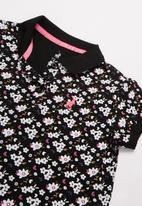 POLO - Girls sophia floral printed golfer - black