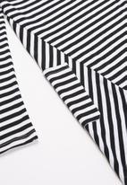 POLO - Girls allison striped long sleeve dress - black & white
