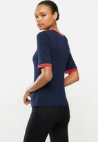 POLO - Taylor mid sleeve rib detail t-shirt - navy