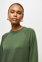 edit - Long sleeve sweater midi dress - olive