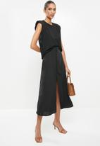Glamorous - Button front high waisted skirt - black