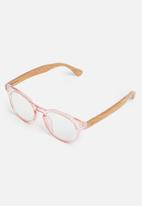 Sophie Moda - Reading glasses bamboo collection - pink & brown