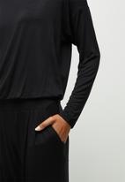 edit - Long sleeve harem jumpsuit - black