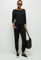 edit - Long sleeve harem jumpsuit - black