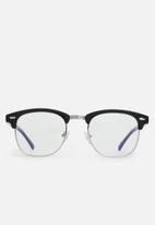 Sophie Moda - Anti-blue light classic half rim optical frame - black & silver