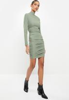 VELVET - Rib ruched turtle neck mini bodycon dress - green