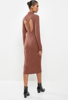 VELVET - Turtle neck rib column midi dress with cut out back - Rose mauve