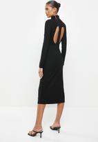 VELVET - Turtle neck rib column midi dress with cut out back - black