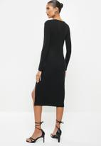 VELVET - Ribbed midi bodycon dress with thigh-high slit - black