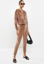VELVET - Plush velvet high rise track pant - mink