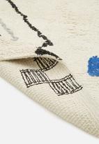 Sixth Floor - Blues tufted rug - blue & cream