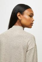 edit - Funnel neck column dress - stone